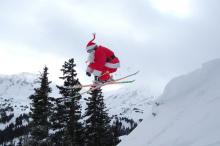 Picture of Santa skiing at Canyons Ski Resort
