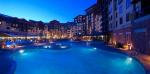 Night time picture of Grand Summit Hotel pool