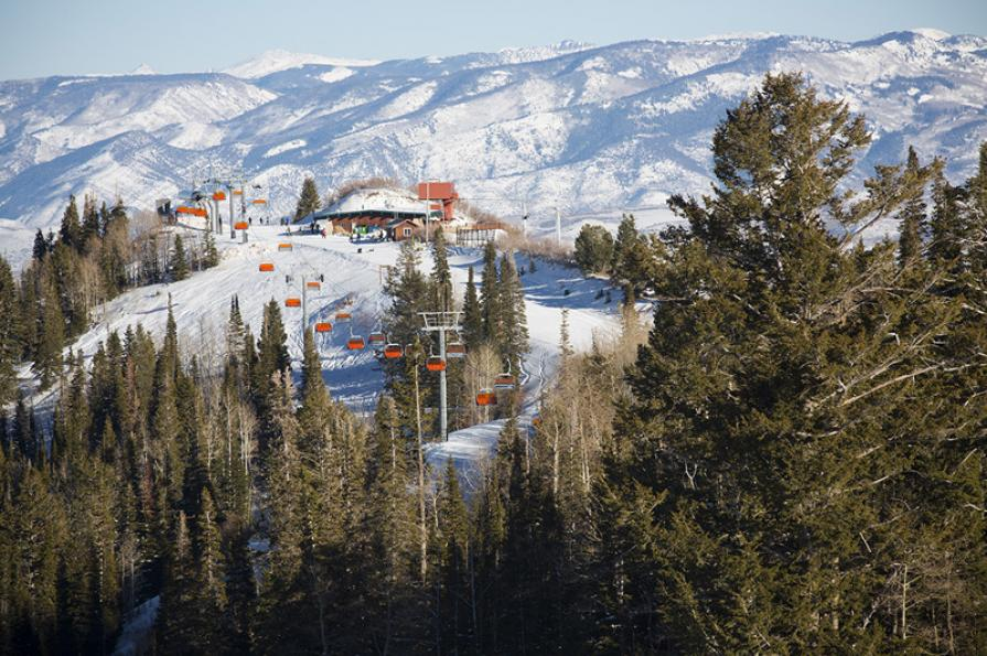 Picture looking at Orange Bubble Express at Canyons Ski Resort