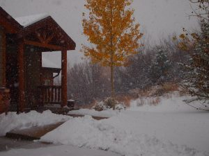 Picture of snow falling in Park City, Utah