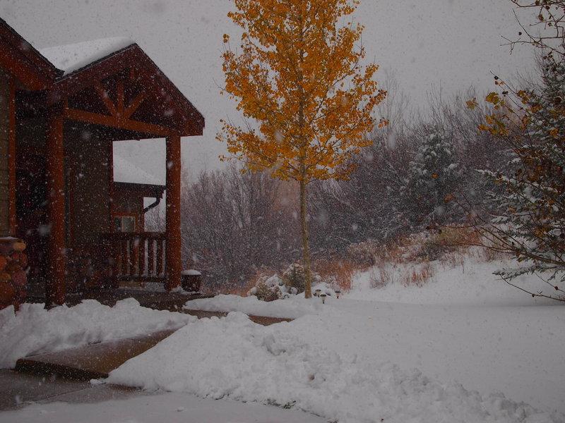 Picture of snow falling in Park City, Utah