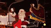 Santa comes down Town Lift